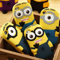 New cute cartoon model silicon material Despicable Me Yellow Minion Cover for iphone Case for iphone 4 4S YC170