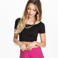 Women European Style New Style Cotton T-shirt Backless Short Sleeve Round Collar Back Cross Short Style Elastic Slim Tops D598
