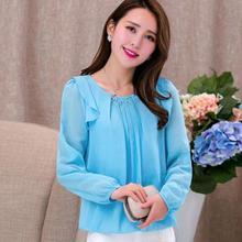 M-XXXL Plus size Loose Chiffon Shirt Korean Style Spring 2015 Fashion Women Blouses Tops Elegant Ruffles Long sleeve Shirt(China (Mainland))