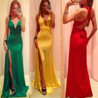 2015 Evening Dress Womens High Quality Milk Silk Long Bandage Bodycon Dress Sexy Split Runway Party Dress Vestidos Free Shipping