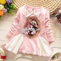 2015 new  girls long sleeve cat print dress coat / fashion kids long sleeve T-shirt / baby outerwear coat