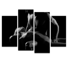 Fall in Love Sexy Rude ,Well-designed Photo Prints Canvas for Wall Decor,Portrait Group Framed (30x60cmx2pcs+30x80cmx2pcs)(China (Mainland))