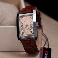 Luxury Brand Curren Fashion Business Men Women sports Leather strap Square dial Quartz watches Japan movement Analog Wrist Watch