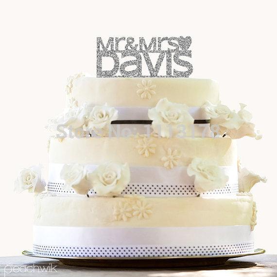 Wedding Cake My Name Cheap Personalized Glitter Topper Monogram