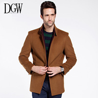 DGW New winter men's cashmere coat long sections Slim Korean men's jacket topcoat male woolen peacoat