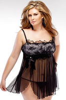 High Quality Black Sexy Costumes For Women's Lingerie Sets and G-string Sleepwear Erotic See Through Babydoll Plus Size Robes