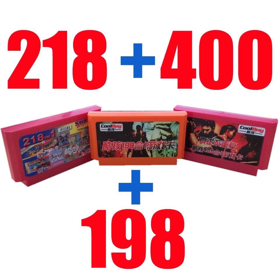 8 бит игра картридж игра карта ------ 218 в 1 + 400 в 1 + 198in 1 = 3шт