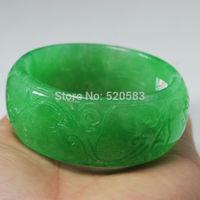 60MM NATURAL BEAUTIFUL CHINA HAND-CARVED GREEN JADE GEMS BANGLE BRACELET