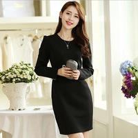 XL-5XL Brand 2015 Spring Plus Size Women Clothing Office Ladies OL Long Sleeve Dresses Big Size Black Dress 2XL 3XL 4XL