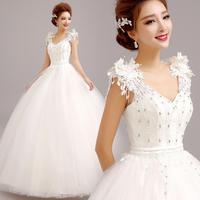 2015 new Bride shoulder strap wedding dress paillette bandage lacing bridal gown ball gown  2319 zyy