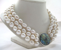 """17-19"""" 3row 14mm white baroque rice freshwater pearl necklace - abalone shell clasp"""