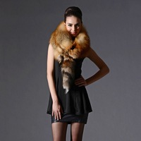 Women's Red Fox Fur Scarves Shawl Natural Color
