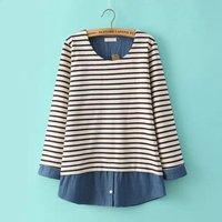 Spring sweet women's 2015 stripe patchwork denim 100% cotton basic shirt faux two piece set top