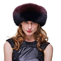 Fox Fur Roller Hat with Leather Top and Tails