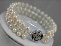 Handmade 3 row bless happiness beaded bracelet