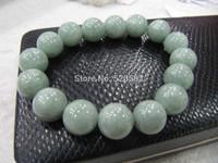 FINE Certified A Grade 12mm Jade (Green jadeite) Round Bead Bracelet