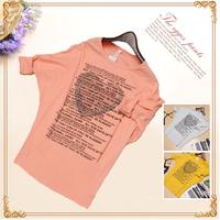 Free Shipping New 2015 Fashion Loose Tops Batwing Sleeve Casual T Shirt Women Letter Print Long Sleeve T-shirt Cotton Tee Shirts