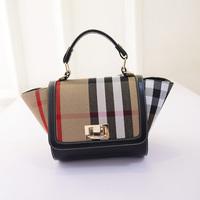 2015 new fashion plaid  mini portable canvas bag wings one shoulder cross-body lock small bags women's handbag