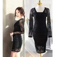 Free Shipping ! Spring 2015 Korean Brand Fashion Slim Thin Sexy Black Package Hip Lace Dress