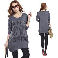 Fashion 2015 Women's Cotton O-Neck Tops Long Sleeve Shirt Casual Blusas Rhinestone Letter Print Women T Shirt Loose Tops