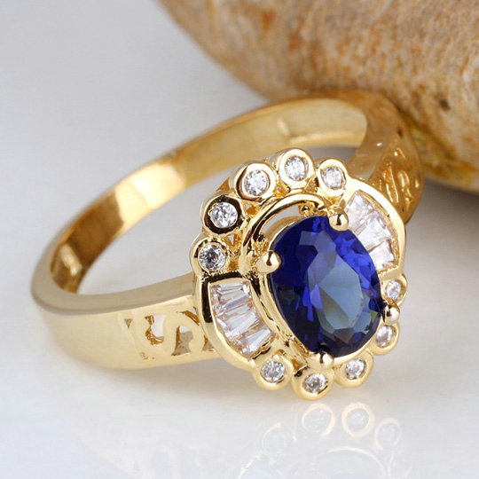 Lady Vintage Oval Blue Sapphire Gold Plated Real 925 Sterling Silver Ring 925 Engaving Service Extra Small & Large R121(China (Mainland))