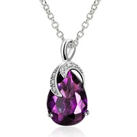 Shiny CZ Crystal Pendant Necklace For Women Free Shipping Wholesale Fashion Purple Crystal Necklace Brand New Top Quality FVN018