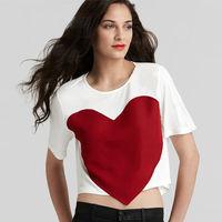Hot Sale Women New Fashion T-shirt Big Heart Patchwork Rounder Collar Short Sleeve Short Style Casual Women Top C062