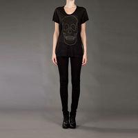 Wholesale Fashion Tops Simple Women's Skull Printed Short Sleeve T-shirt Short Sleeve Free Shipping D008