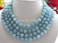 """Longest 68"""" Blue Natural 10mm Round Aquamarine Necklace"""