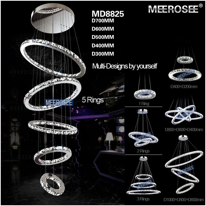 Moderne 5 ringe kristall led deckenleuchte led beleuchtung kristall für trepp -> Led Deckenleuchte Ringe