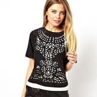 women fashion chiffon two pieces shirt laser engraving hollow out bump color patchwork short sleeve wholesale D295