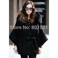 Fur & Faux Fur Attractive Black Woolen Fabric Hooded Coat With Belt For Women 2015
