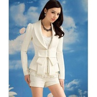 Elegant and Slim Bowknot White Long Sleeves Cotton Blend Fabric Coat For Women 2015