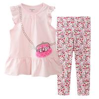 wholesale 6sets/lot 1~6years new 2015 new brand kids summer sets cotton 2pcs set baby girl T-shirts and shorts set 24351#