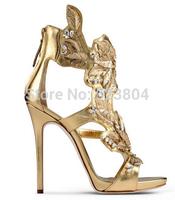 New Design Women Golden Leaves High Heel Sandals Fashion Rhinestone Women Pumps Thin Heel Brand Gladiator Shoes Woman