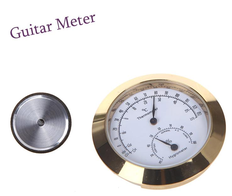 Guitar Violin Thermo Hygrometer Moisture Meter Humidity Monitor Thermometer Golden Round Thermometer Hygrometer(China (Mainland))