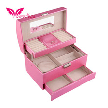 2015 New Arrival,Faux Leather Large Jewelry Box Three-layer Travel Case Storage and Lock