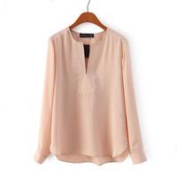 2015 spring fashion V-neck long-sleeve slim solid color chiffon shirt women's pullover basic chiffon shirt  blouse YH21404 S,M,L