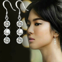 Elegant Bling Crystal 925 Sterling Silver GP Dangle Tassle Line Earring Party Wedding Bridal Womens