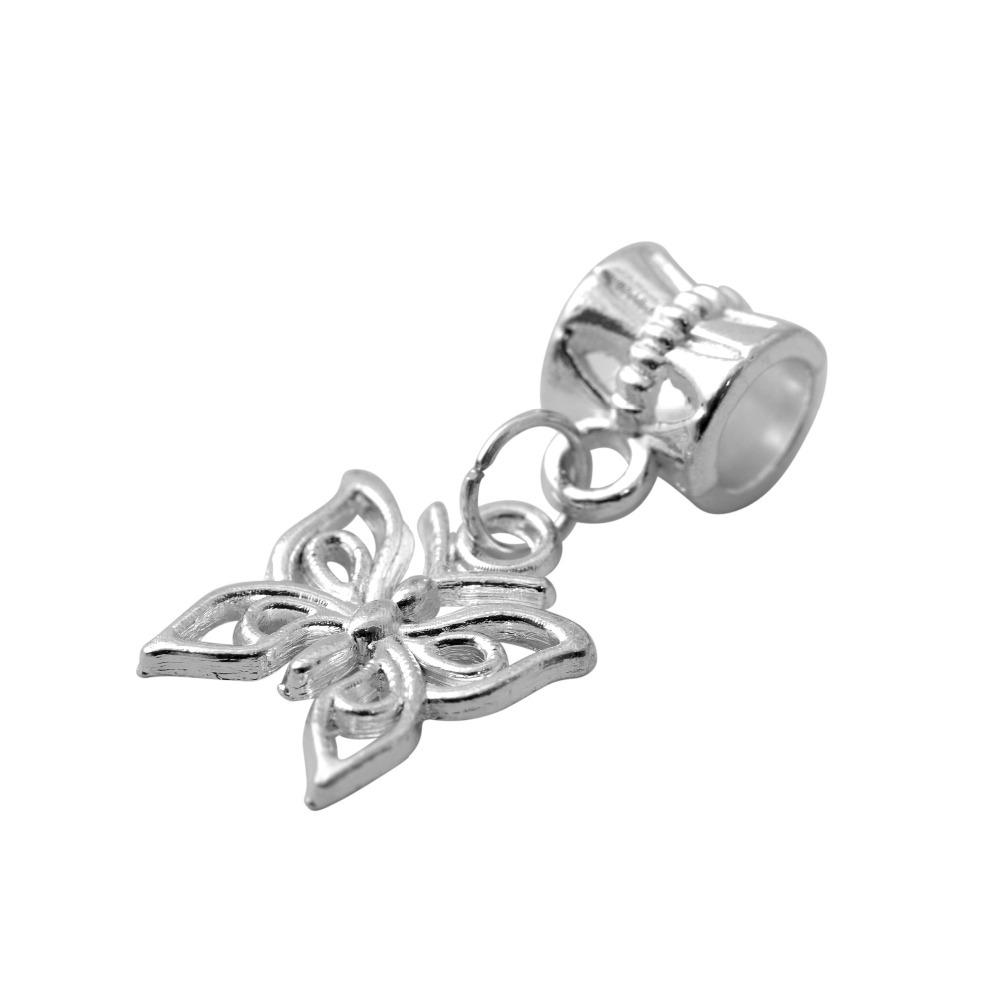 Free Shipping European Silver Butterfly Beads Alloy Bead Charm Fit Women Pandora Bracelets Bangles Jewelry B19