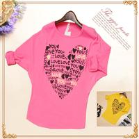 Free Shipping Blusas Femininas 2015 Fashion T Shirt Women Batwing Sleeve Loose Tops Letter Print Heart Desigual Casual T Shirt