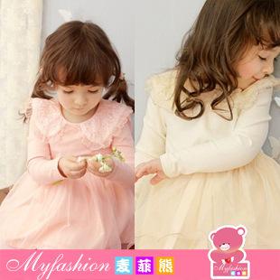 Girls New Direct Selling Appliques Vestido [brand ] 2015 Spring Break 25 Yuan Korean Lace Dress Pure Cotton Gauze Princess 32213(China (Mainland))