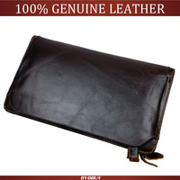 Top Quality Luxury Genuine Leather Men Clutch Wallet Handbag Double Zipper Purse Removable Card Holder Bag Phone Bag