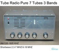 Tube  AM/SW Radio Pure 7 Tubes 3 Bands Radio AM 535-1605 KHZ SW2.3-7/6-18MHZ Amplifier Metal Casing Bass Tremble 4-inch Speaker