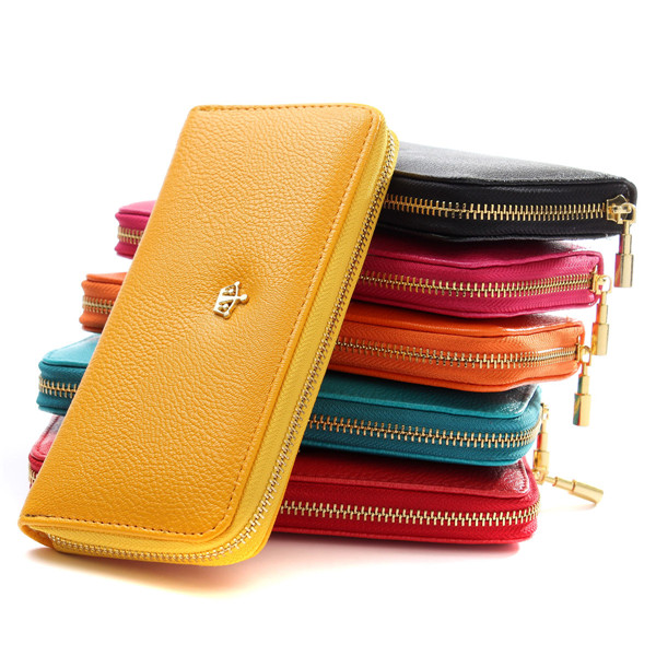 Lady Wallets 6colors Quality PU Leather Women Wallet Time-limited Promotion Hand Bag New Fashion Holders Popular Long Zip Purse(China (Mainland))