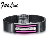 Fashion Wrap Leather  Bracelets for Woman Cowhide Bracelet 15mm Width 19cm Length  Adjustable Crystal Bracelet Pink 923
