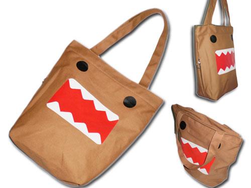 Domo Kun shoulder bag Single Shoulder student Handbag Cartoon Canvas handbag Tote shopping bag Brown High Quality Multi spirit(China (Mainland))
