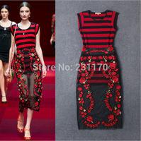 New Fashion European Spring Runway 2015 Dress Short Sleeve Embroidery Lace Long Dress Plus Size Women Clothing Vestido Longo