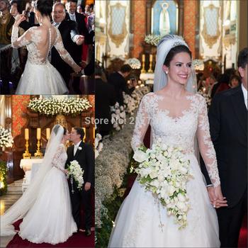Романтический аппликации свадебные платья 2015 Vestido де Noiva высокое качество с длинными рукавами линии свадебное платье для свадьбы и события