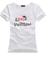 2015 Fashion short sleeve cotton T-shirts summer woman causal tops lady sports wear women shirts